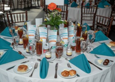 tablescape with iced teas blue napkins and conference materials