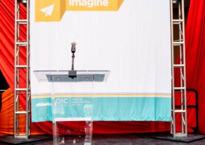 podium and backdrop
