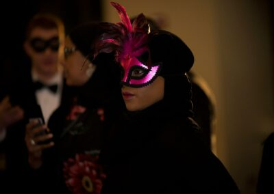 portrait of girl in hot pink mask