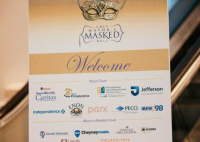 masked ball sponsor logo sign