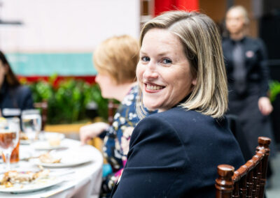 guest smiles at luncheon