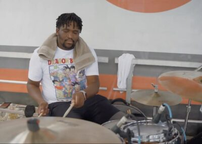 drummer taps his drums