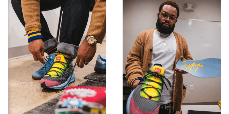 designer showing his new color sneaker design