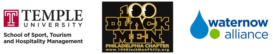 logos for temple university, 100 black men, waternow alliance
